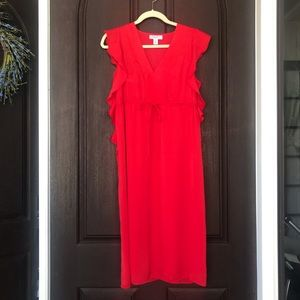 Red Flutter Sleeve Maternity Dress